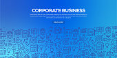 Vector set of design templates and elements for Corporate Business in trendy linear style - Seamless patterns with linear icons related to Corporate Business - Vector