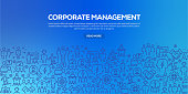 Vector set of design templates and elements for Corporate Management in trendy linear style - Seamless patterns with linear icons related to Corporate Management - Vector