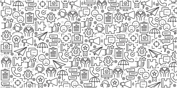 Vector set of design templates and elements for Customer Relationship in trendy linear style - Seamless patterns with linear icons related to Customer Relationship - Vector Vector set of design templates and elements for Customer Relationship in trendy linear style - Seamless patterns with linear icons related to Customer Relationship - Vector backgrounds icons stock illustrations