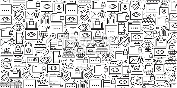 Vector set of design templates and elements for Cyber Security in trendy linear style - Seamless patterns with linear icons related to Cyber Security - Vector