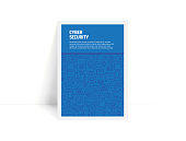 Vector Set of Design Templates and Elements for Cyber Security in Trendy Linear Style - Pattern with Linear Icons Related to Cyber Security - Minimalist Cover, Poster Design