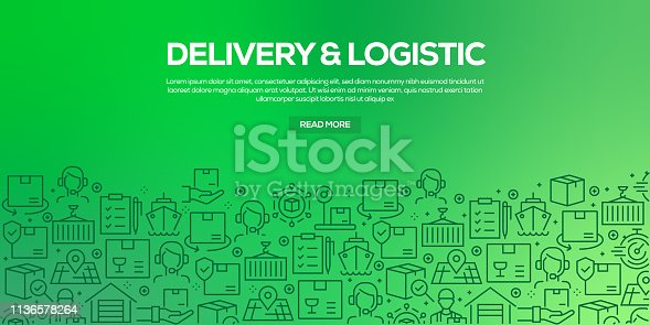Vector set of design templates and elements for Delivery and Logistics in trendy linear style - Seamless patterns with linear icons related to Delivery and Logistics - Vector
