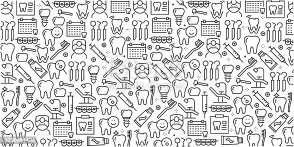 Vector set of design templates and elements for Dental in trendy linear style - Seamless patterns with linear icons related to Dental - Vector