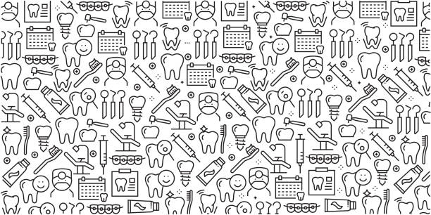 Vector set of design templates and elements for Dental in trendy linear style - Seamless patterns with linear icons related to Dental - Vector Vector set of design templates and elements for Dental in trendy linear style - Seamless patterns with linear icons related to Dental - Vector dental health stock illustrations