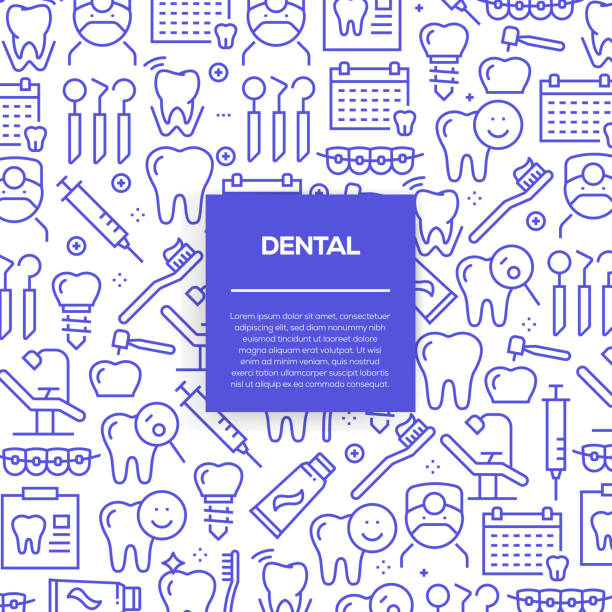 vector set of design templates and elements for dental in trendy linear style - seamless patterns with linear icons related to dental - vector - dentist stock illustrations