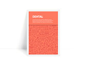 Vector Set of Design Templates and Elements for Dental in Trendy Linear Style - Pattern with Linear Icons Related to Dental - Minimalist Cover, Poster Design