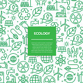 Vector set of design templates and elements for Ecology in trendy linear style - Seamless patterns with linear icons related to Ecology - Vector