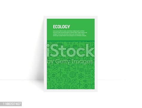 Vector Set of Design Templates and Elements for Ecology in Trendy Linear Style - Pattern with Linear Icons Related to Ecology - Minimalist Cover, Poster Design