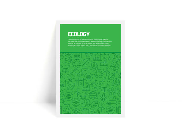 illustrazioni stock, clip art, cartoni animati e icone di tendenza di vector set of design templates and elements for ecology in trendy linear style - pattern with linear icons related to ecology - minimalist cover, poster design - sustainability icons