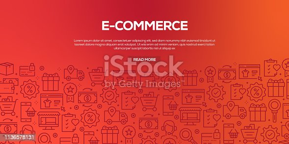 Vector set of design templates and elements for E-Commerce in trendy linear style - Seamless patterns with linear icons related to E-Commerce - Vector