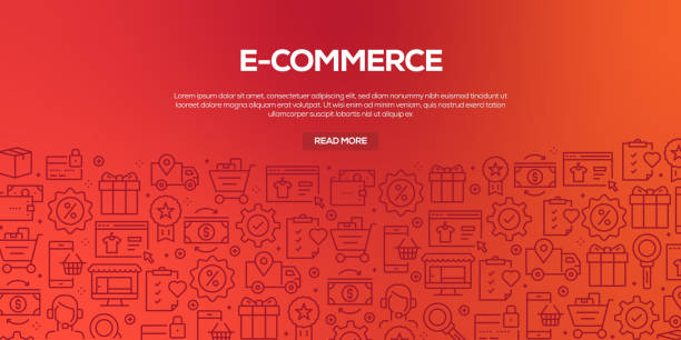 vector set of design templates and elements for e-commerce in trendy linear style - seamless patterns with linear icons related to e-commerce - vector - online shopping stock illustrations