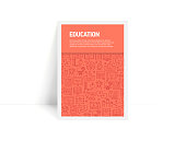 Vector Set of Design Templates and Elements for Education in Trendy Linear Style - Pattern with Linear Icons Related to Education - Minimalist Cover, Poster Design