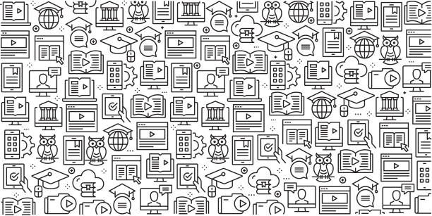 ilustrações de stock, clip art, desenhos animados e ícones de vector set of design templates and elements for e-learning in trendy linear style - seamless patterns with linear icons related to e-learning - vector - webinar anuncio