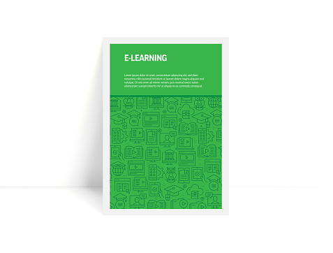 Vector Set of Design Templates and Elements for E-Learning in Trendy Linear Style - Pattern with Linear Icons Related to E-Learning - Minimalist Cover, Poster Design