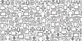 Vector set of design templates and elements for Electronics and Devices in trendy linear style - Seamless patterns with linear icons related to Electronics and Devices - Vector