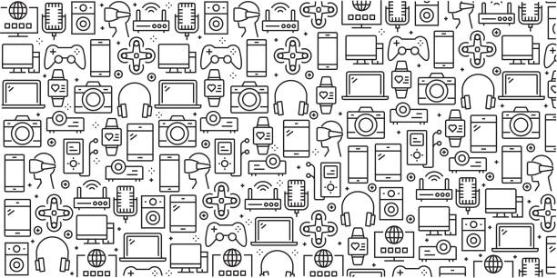 Vector set of design templates and elements for Electronics and Devices in trendy linear style - Seamless patterns with linear icons related to Electronics and Devices - Vector Vector set of design templates and elements for Electronics and Devices in trendy linear style - Seamless patterns with linear icons related to Electronics and Devices - Vector electrical equipment stock illustrations