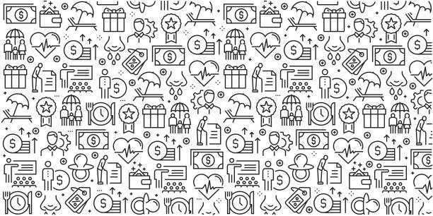 ilustrações de stock, clip art, desenhos animados e ícones de vector set of design templates and elements for employee benefits in trendy linear style - seamless patterns with linear icons related to employee benefits - vector - benefits