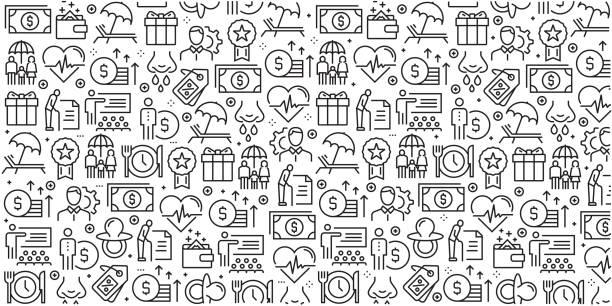 stockillustraties, clipart, cartoons en iconen met vector set van ontwerpsjablonen en elementen voor employee benefits in trendy lineaire stijl - naadloze patronen met lineaire pictogrammen aan employee benefits - vector gerelateerde - sociale dienst