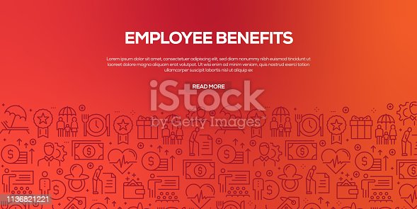 Vector set of design templates and elements for Employee Benefits in trendy linear style - Seamless patterns with linear icons related to Employee Benefits - Vector