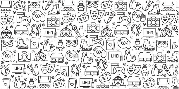 Vector set of design templates and elements for Entertainment in trendy linear style - Seamless patterns with linear icons related to Entertainment - Vector Vector set of design templates and elements for Entertainment in trendy linear style - Seamless patterns with linear icons related to Entertainment - Vector nightlife stock illustrations