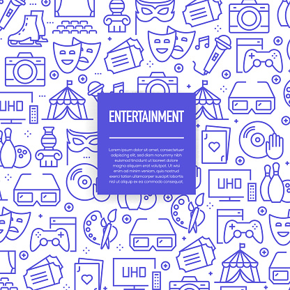 Vector set of design templates and elements for Entertainment in trendy linear style - Seamless patterns with linear icons related to Entertainment - Vector