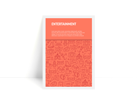 Vector Set of Design Templates and Elements for Entertainment in Trendy Linear Style - Pattern with Linear Icons Related to Entertainment - Minimalist Cover, Poster Design