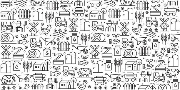 bildbanksillustrationer, clip art samt tecknat material och ikoner med vektor uppsättning mallar och element för gården och jordbruk i trendiga linjär stil - sömlösa mönster med linjär ikoner relaterade till gården och jordbruket - vektor - jordbruk