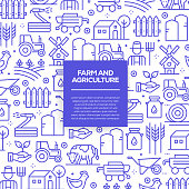 Vector set of design templates and elements for Farm and Agriculture in trendy linear style - Seamless patterns with linear icons related to Farm and Agriculture - Vector