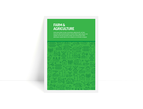 Vector Set of Design Templates and Elements for Farm and Agriculture in Trendy Linear Style - Pattern with Linear Icons Related to Farm and Agriculture - Minimalist Cover, Poster Design