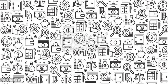 Vector set of design templates and elements for Finance in trendy linear style - Seamless patterns with linear icons related to Finance - Vector