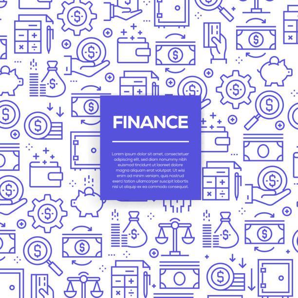 Vector set of design templates and elements for Finance in trendy linear style - Seamless patterns with linear icons related to Finance - Vector Vector set of design templates and elements for Finance in trendy linear style - Seamless patterns with linear icons related to Finance - Vector budget patterns stock illustrations