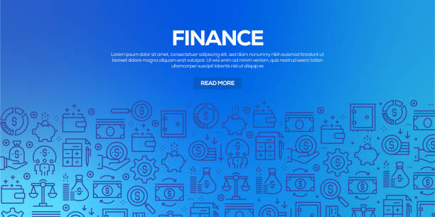 Vector set of design templates and elements for Finance in trendy linear style - Seamless patterns with linear icons related to Finance - Vector Vector set of design templates and elements for Finance in trendy linear style - Seamless patterns with linear icons related to Finance - Vector banking backgrounds stock illustrations