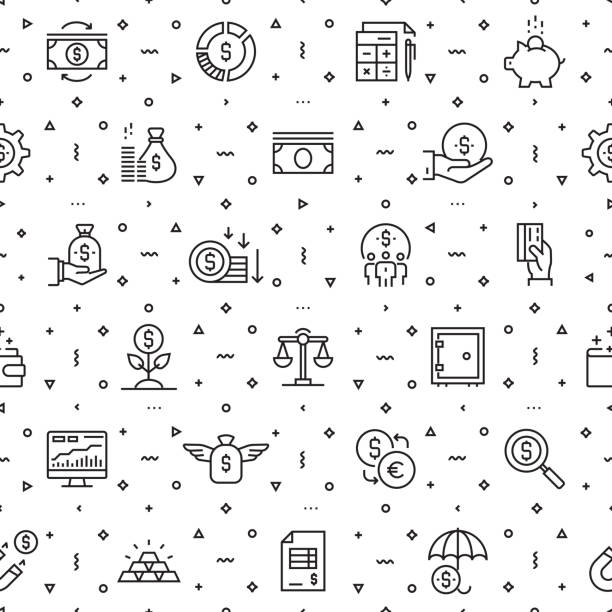 Vector set of design templates and elements for Finance in trendy linear style - Seamless patterns with linear icons related to Finance - Vector Vector set of design templates and elements for Finance in trendy linear style - Seamless patterns with linear icons related to Finance - Vector banking patterns stock illustrations
