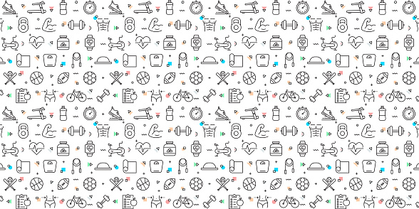 Vector set of design templates and elements for Fitness and Sports in trendy linear style - Seamless patterns with linear icons related to Fitness and Sports - Vector
