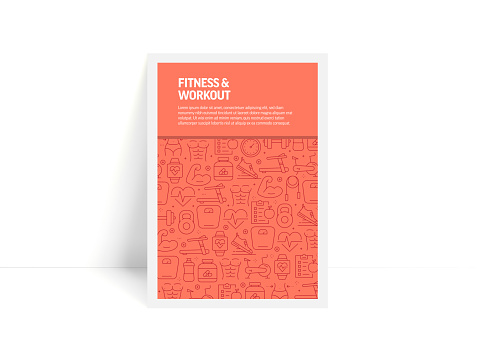 Vector Set of Design Templates and Elements for Fitness and Workout in Trendy Linear Style - Pattern with Linear Icons Related to Fitness and Workout - Minimalist Cover, Poster Design