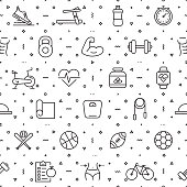 Vector set of design templates and elements for Fitness and Workout in trendy linear style - Seamless patterns with linear icons related to Fitness and Workout - Vector