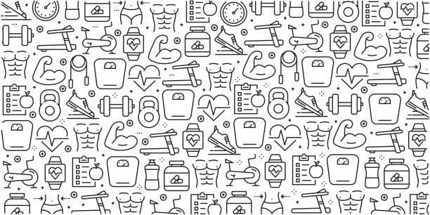 bildbanksillustrationer, clip art samt tecknat material och ikoner med vector uppsättning mallar och element för fitness i trendiga linjär stil - sömlösa mönster med linjär ikoner relaterade till fitness - vektor - calendar workout