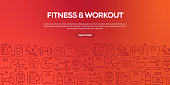 Vector set of design templates and elements for Fitness in trendy linear style - Seamless patterns with linear icons related to Fitness - Vector
