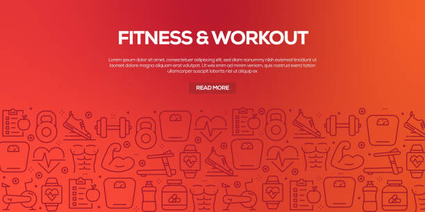 ilustrações de stock, clip art, desenhos animados e ícones de vector set of design templates and elements for fitness in trendy linear style - seamless patterns with linear icons related to fitness - vector - fitness