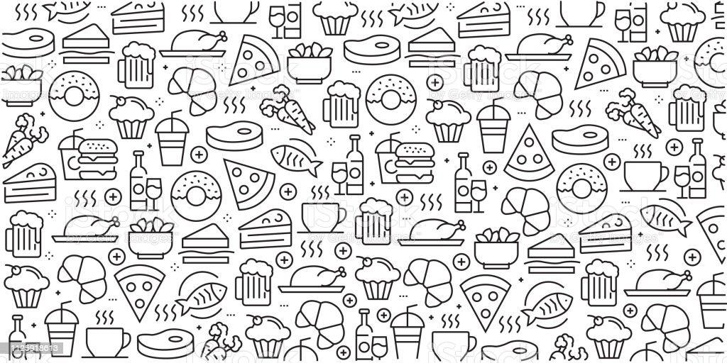 Vector conjunto de elementos y plantillas de diseño para comida y bebida en estilo moderno - patrones sin fisuras con iconos lineales relacionados con alimentos y bebidas - Vector - arte vectorial de Agua libre de derechos