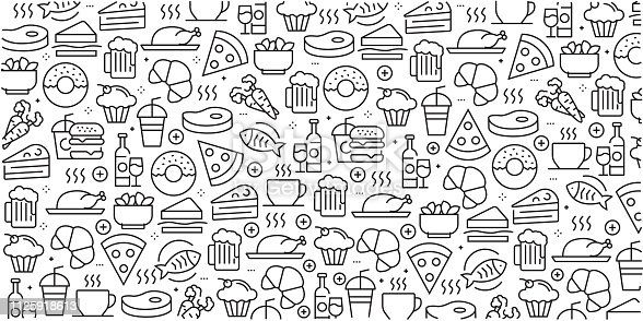 Vector set of design templates and elements for Food and Drink in trendy linear style - Seamless patterns with linear icons related to Food and Drink - Vector