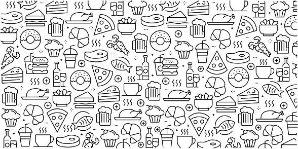Ilustración de Vector Conjunto De Elementos Y Plantillas De Diseño Para Comida Y Bebida En Estilo Moderno Patrones Sin Fisuras Con Iconos Lineales Relacionados Con Alimentos Y Bebidas Vector y más Vectores Libres de Derechos de Agua