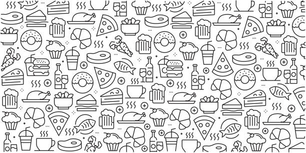 illustrazioni stock, clip art, cartoni animati e icone di tendenza di vector set of design templates and elements for food and drink in trendy linear style - seamless patterns with linear icons related to food and drink - vector - food
