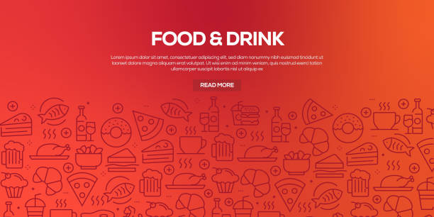 Vector set of design templates and elements for Food and Drink in trendy linear style - Seamless patterns with linear icons related to Food and Drink - Vector Vector set of design templates and elements for Food and Drink in trendy linear style - Seamless patterns with linear icons related to Food and Drink - Vector cooking designs stock illustrations