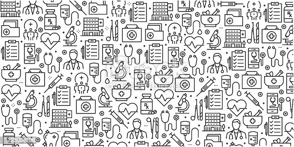 Vector set of design templates and elements for Healthcare and Medicine in trendy linear style - Seamless patterns with linear icons related to Healthcare and Medicine - Vector