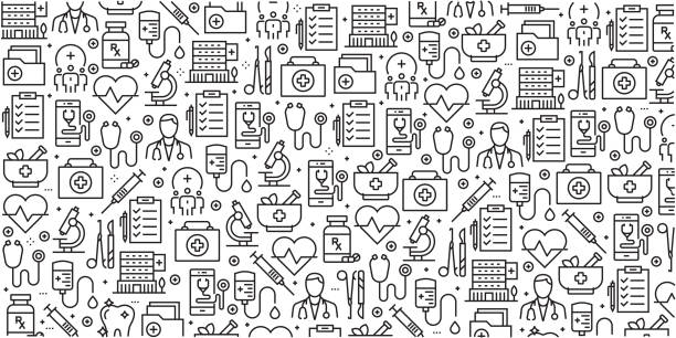 Vector set of design templates and elements for Healthcare and Medicine in trendy linear style - Seamless patterns with linear icons related to Healthcare and Medicine - Vector Vector set of design templates and elements for Healthcare and Medicine in trendy linear style - Seamless patterns with linear icons related to Healthcare and Medicine - Vector conceptual symbol stock illustrations