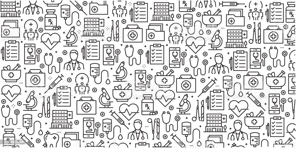 Vector set of design templates and elements for Healthcare and Medicine in trendy linear style - Seamless patterns with linear icons related to Healthcare and Medicine - Vector vector art illustration