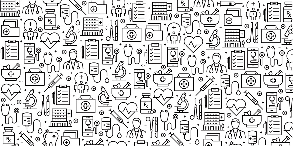 Vector Set Of Design Templates And Elements For Healthcare And Medicine In Trendy Linear Style Seamless Patterns With Linear Icons Related To Healthcare And Medicine Vector - Immagini vettoriali stock e altre immagini di Accudire