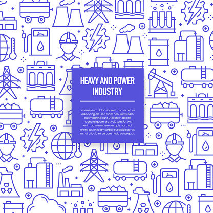 Vector set of design templates and elements for Heavy and Power Industry in trendy linear style - Seamless patterns with linear icons related to Heavy and Power Industry - Vector