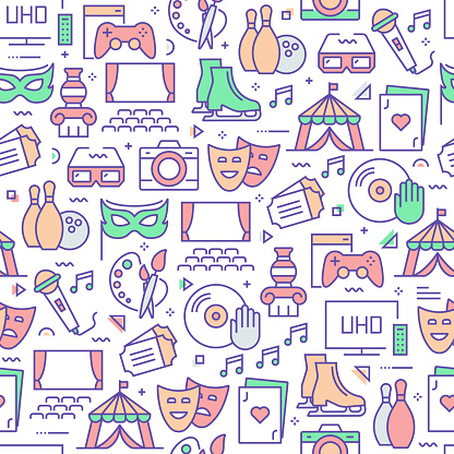 Vector set of design templates and elements for Hobbies and Activities in trendy linear style - Seamless patterns with linear icons related to Hobbies and Activities - Vector